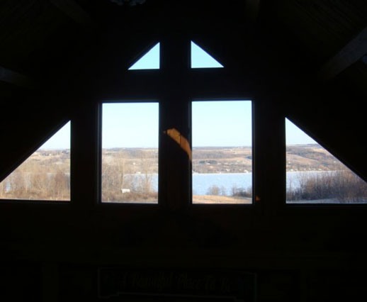 The view from windows in a beautiful place overlooking Keuka Lake