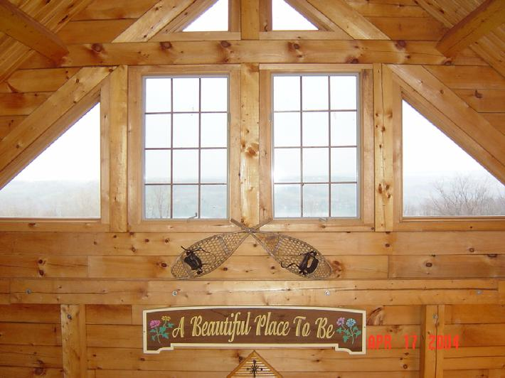 Log Cabin Interior with large windows
